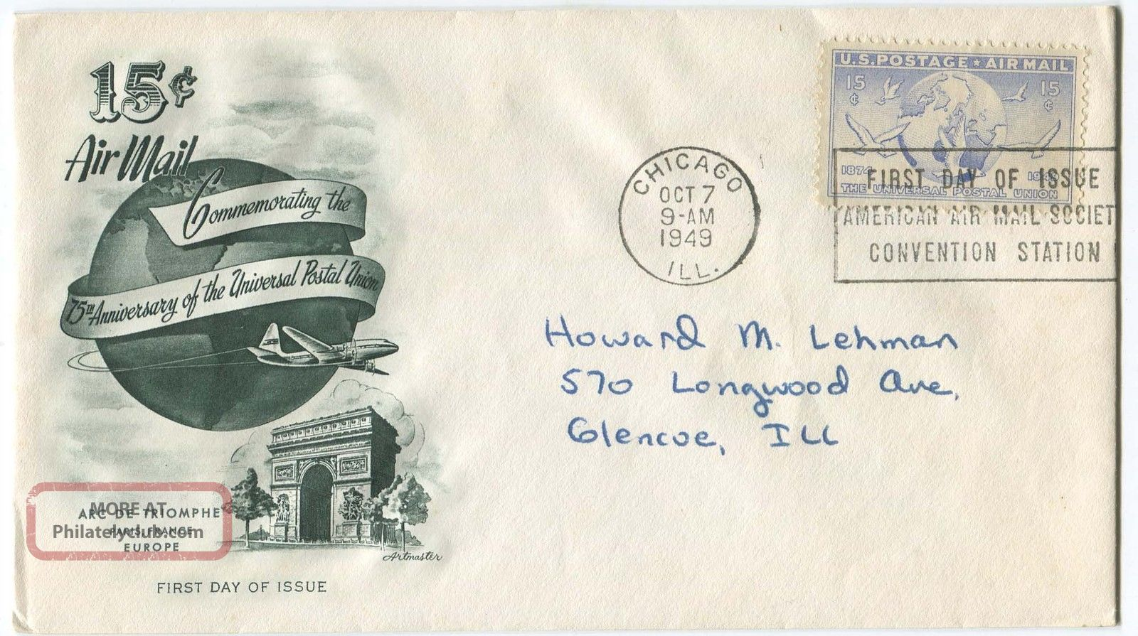 Usa First Day Cover Commemoration The United Postal Union FDCs (pre-1951) photo