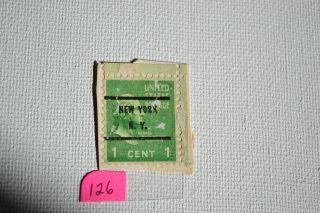 Washington 1 Cent Stamp,  United States Stamp,  York,  N.  Y Pre - Cancel 126 photo