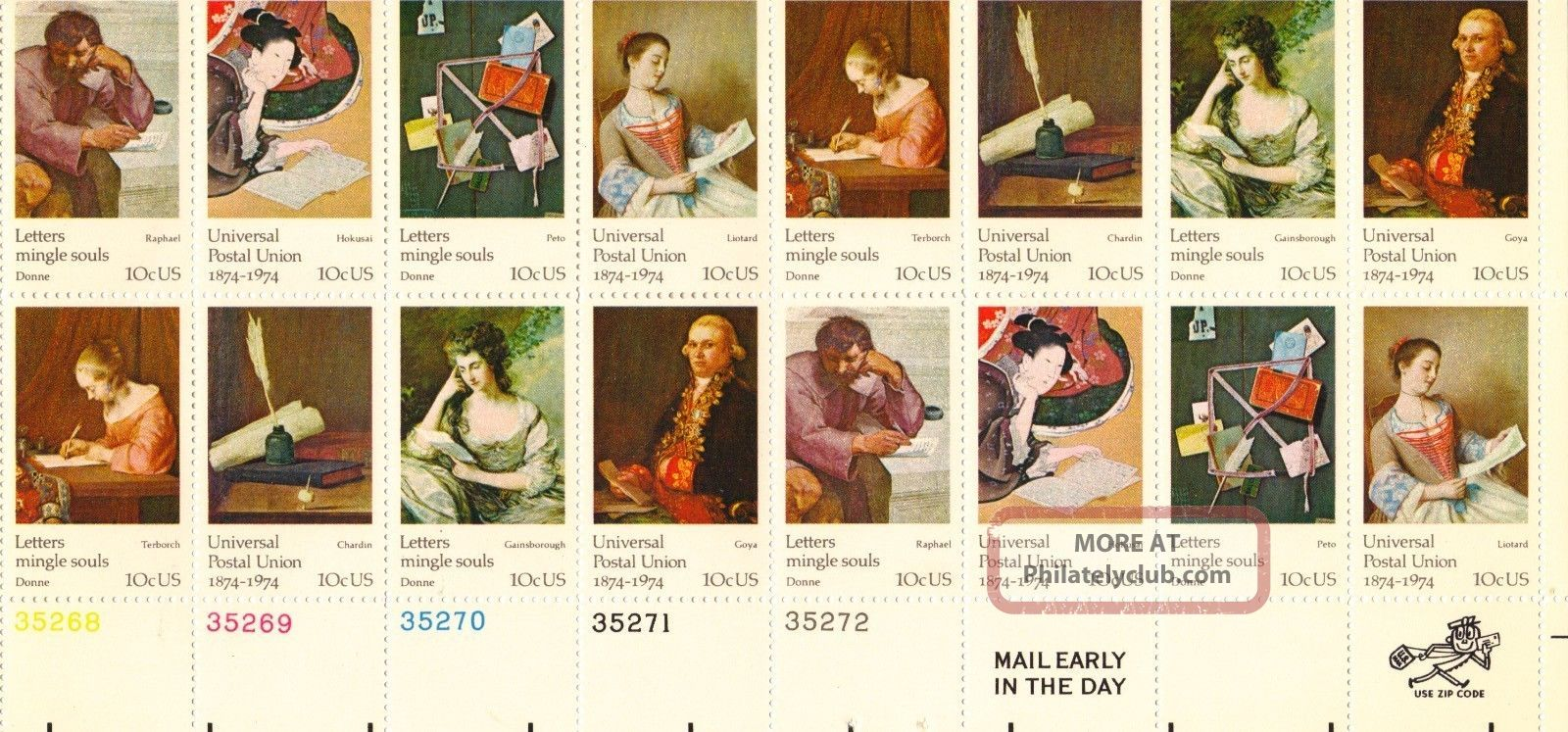 Us Stamp Sheet Scott 1530 - 1537 1974 10 Cent 16 Count Universal Postal Union United States photo