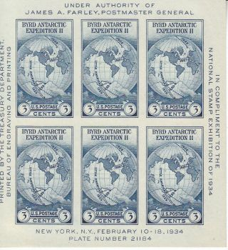 Stamp Us Sc 0735 Sheet 1934 Antarctic Byrd Expedition World Map Expo photo