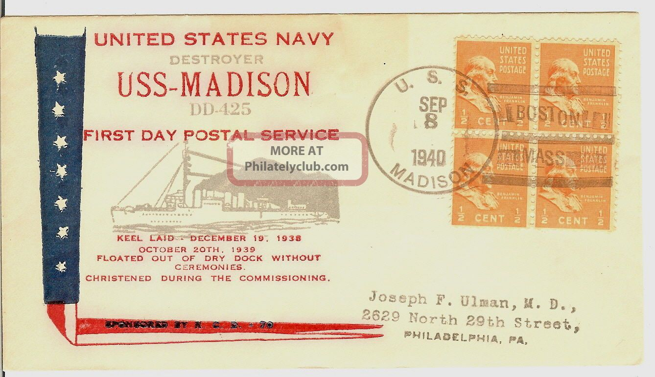 A Naval Cover: Uss Madison (- 425) -