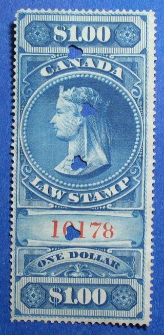 1876 $1.  00 Canada Supreme Court Revenue Vd Fsc5 Barefoot 5 Cs12401 photo