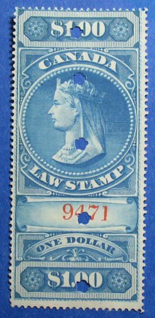 1876 $1.  00 Canada Supreme Court Revenue Vd Fsc5 Barefoot 5 Cs12402 photo