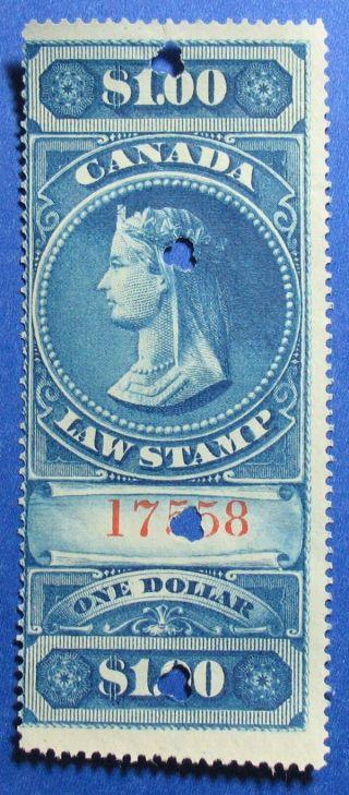 1876 $1.  00 Canada Supreme Court Revenue Vd Fsc5 Barefoot 5 Cs12403 photo