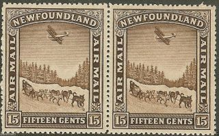 Canada,  Newfoundland 1931 15¢ Brown,  Sc C6,  Vf Pair,   - Cv $60.  00 photo