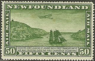 Canada,  Newfoundland 1931 50¢ Green Sc C10,  Sideways Wtmk - F/vf,  Lh/og photo