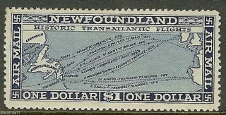 Canada,  Newfoundland 1931 $1 Blue,  Sc C8,  F/vf,  Lh/og - Cv $70.  00 photo