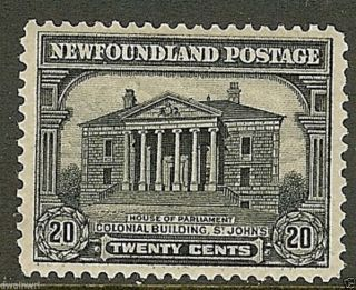 Canada,  Newfoundland 1928 Pictorial Issue,  Sc 157,  20¢ Grey Black,  Vf,  Lh photo