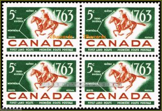 Canada 1963 Canadian First Land Route Fv Face 20 Cent Stamp Block photo