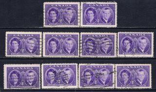 Canada 315 (3) 1951 4 Cent Violet Royal Visit Duchess & Duke Of Edinburgh photo