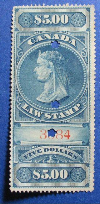 1876 $5.  00 Canada Supreme Court Revenue Vd Fsc6 Barefoot 6 Cs12407 photo