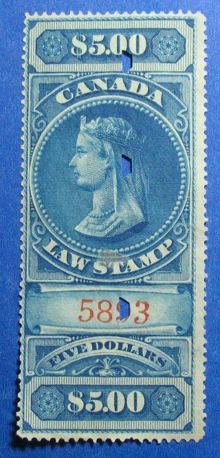 1876 $5.  00 Canada Supreme Court Revenue Vd Fsc6 Barefoot 6 Cs12408 photo