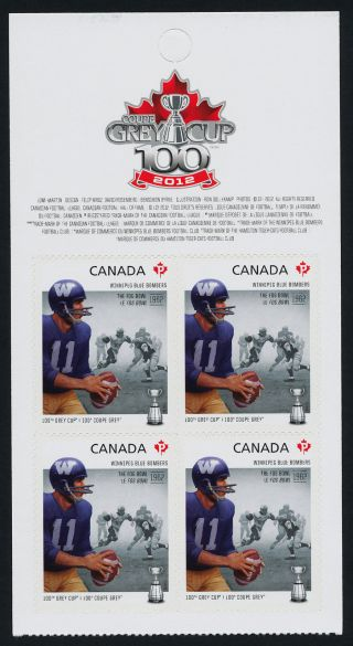 Canada 2573a Top Booklet Pane Cfl,  Winnipeg Blue Bombers,  Football,  Sports photo