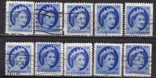 Canada 341 (1) 1954 5 Cent Bright Blue Queen Elizabeth Ii 10 photo