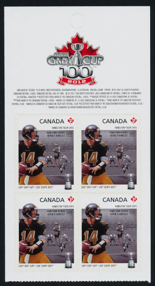Canada 2574a Top Booklet Pane Cfl,  Hamilton Tiger - Cats,  Football,  Sports photo