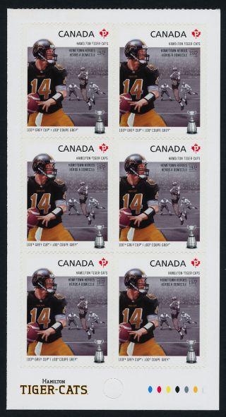 Canada 2574a Bottom Booklet Pane Cfl,  Hamilton Tiger - Cats,  Football,  Sports photo