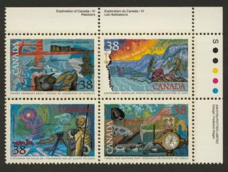 Canada 1236a Tr Block Arctic Explorers,  Flag,  Ship,  Compass photo