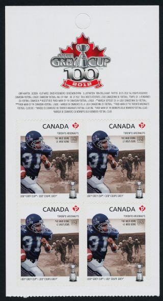 Canada 2575a Top Booklet Pane Cfl,  Toronto Argonauts,  Football,  Sports photo