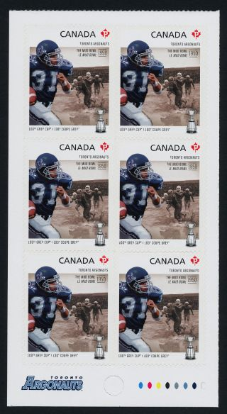 Canada 2575a Bottom Booklet Pane Cfl,  Toronto Argonauts,  Football,  Sports photo