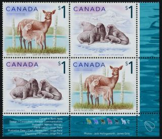 Canada 1689a Br Plate Block Deer,  Walrus photo