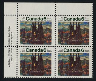 Canada 518 Tl Plate Block Art,  Group Of Seven,