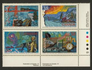 Canada 1236a Br Plate Block Arctic Explorers,  Flag,  Ship,  Compass photo