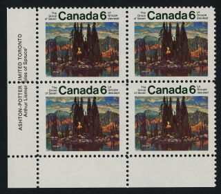 Canada 518i Bl Plate Block Art,  Group Of Seven,