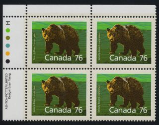 Canada 1178 Top Left Plate Block Grizzly Bear photo