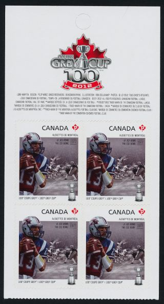 Canada 2576a Top Booklet Pane Cfl,  Montreal Alouettes,  Football,  Sports photo