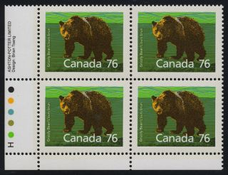 Canada 1178 Bottom Left Plate Block Grizzly Bear photo