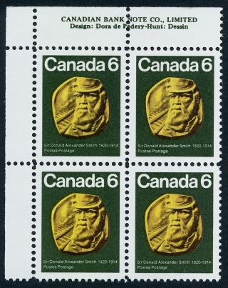 Canada 531 Tl Plate Block Sir Donald Alexander Smith,  Cp Railroad photo