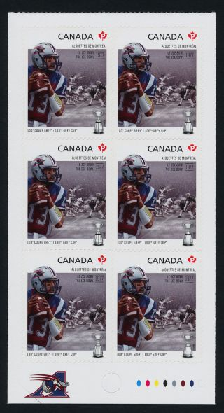 Canada 2576a Bottom Booklet Pane Cfl,  Montreal Alouettes,  Football,  Sports photo