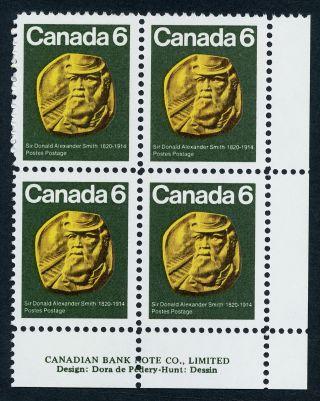 Canada 531 Br Plate Block Sir Donald Alexander Smith,  Cp Railroad photo