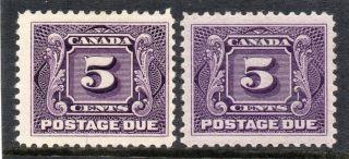 Canada 1906 - 24 5c Both Paper,  G - Fm.  Sg D6/d7a.  Cat.  £58. photo
