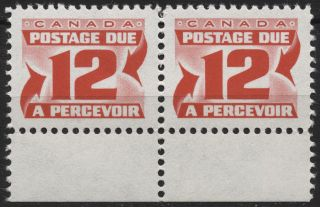 Canada J36iii 12c Carmine Rose - Flrsc Paper Dex Gum - Second Red Dues Issue1969 photo