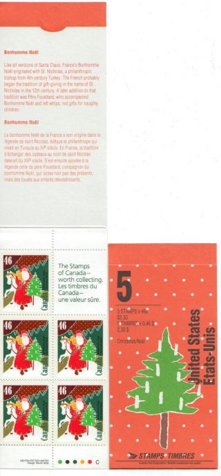 1991 Sc Bk135b Bonhomme Noel Open Cover With Ti Pane Of 5+label photo