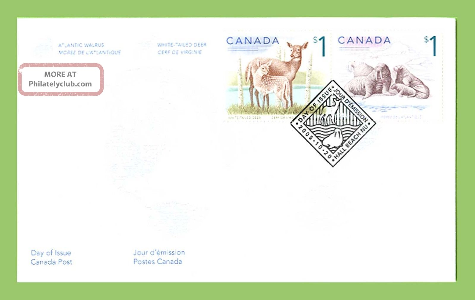 Canada 2005 S1 Deer And $1 Walrus On First Day Cover Stamps photo