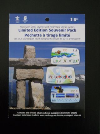 Vancouver 2010 Olympic Limited Edition Pack Ovpt ' D S/s ' S (3) & Booklet & S/s photo