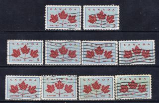 Canada 417 (17) 1964 5 Cent Maple Leaves 10 Wave Cancels photo