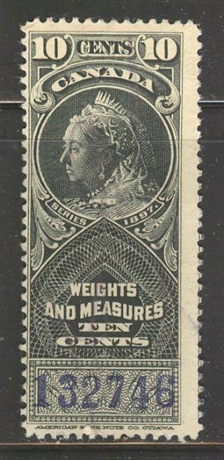 Canada Fwm46a,  1897 10c Queen Victoria - Weights & Measures Revenue, photo