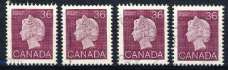 1987 Canada 4 Copies Of The Very Scarce 36 Cent Queen / 926a photo