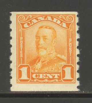 Canada 160,  1929 1c King George V - Scroll Coil Issue,  Never Hinged photo