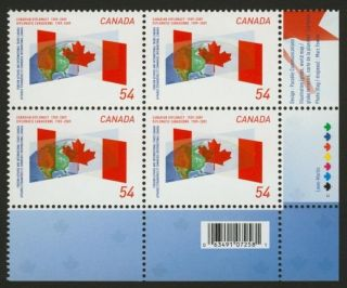 Canada 2331 Br Plate Block Canadian Diplomacy,  Flag,  Globe photo