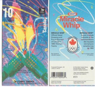 1992 Sc Bk144c Olympic Winter Games Flame At Left On Cover Glued Flap No Ti photo