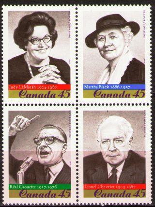 Canada 1997 Sc1664a Mi1639 - 42 4.  00 Mieu 1 Block Famous Politicians photo