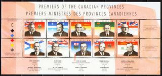 Canada 1998 Sc1709 Mi1654 - 63 9.  00 Mieu 1 Ms Provincial Leaders photo