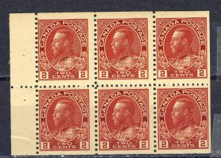 1911 - 25 106a 2¢ King George V Admiral Issue Booklet Pane F - Vfnh photo