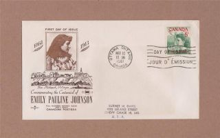 Canada Post Emily Pauline Johnson 1961 Day Of Issue Cover Mar 10,  1961 photo