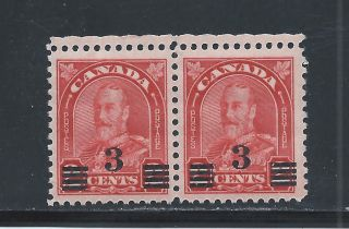 King George V Provisional 3 On 2 Cents Pair 191 photo
