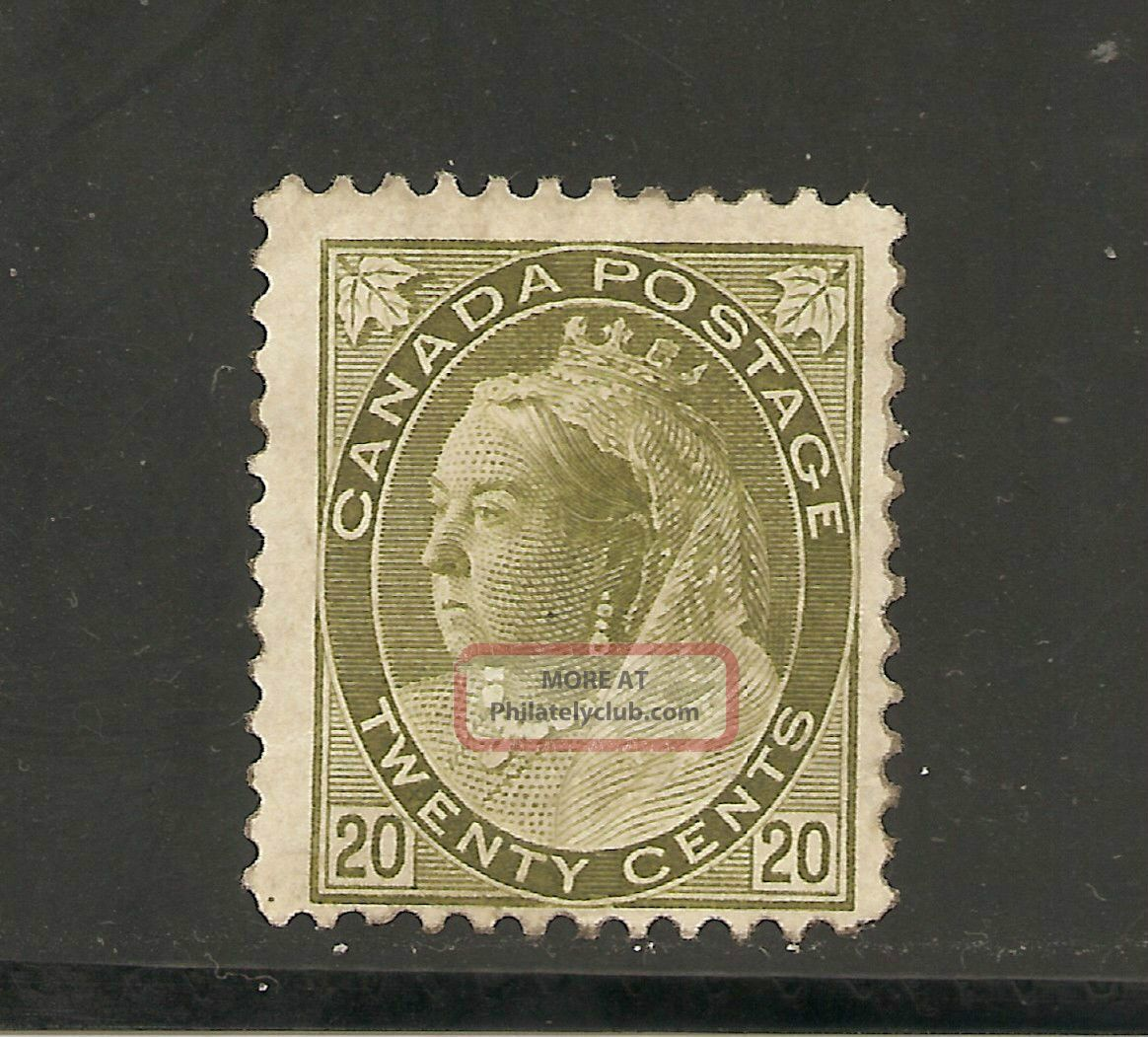 Queen Victoria Numerial Issue 20 Cents 84 No Gum Canada photo